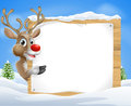 Cartoon reindeer Christmas Sign Royalty Free Stock Photo