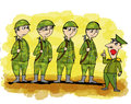 Cartoon related with military man soldiers and army Stock Image
