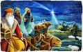 Cartoon religious illustration with three kings and the holy family traditional scene Royalty Free Stock Photo