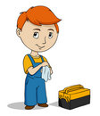 Cartoon repairman with toolbox cleaning hands Royalty Free Stock Photos