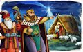 Cartoon rerigious illustration with three kings and the holy family traditional scene Royalty Free Stock Photo