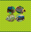Cartoon retro car card Stock Photo