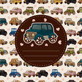 Cartoon retro car card Royalty Free Stock Image