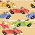 Cartoon retro car seamless pattern. Vector illustration.