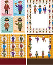 Cartoon retro gentleman card collection Stock Photography