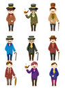 Cartoon retro gentleman icon Royalty Free Stock Photography