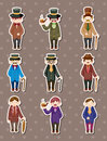 Cartoon retro gentleman stickers Royalty Free Stock Photo
