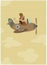 Cartoon retro pilot aviator on his vintage airplane on flight Royalty Free Stock Photo