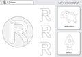 Cartoon rhinoceros and rocket. Alphabet tracing worksheet: writi Royalty Free Stock Photo