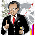 Cartoon rich man vector illustration of a smiling indicates a success on the market Royalty Free Stock Image