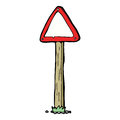 Cartoon road sign hand drawn illustration in retro style vector available Royalty Free Stock Photo