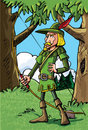 Cartoon Robin Hood in the woods Stock Photos
