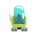 Cartoon robot crawler character with glass blue lense vector Illustration