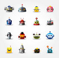 Cartoon robot face icon , web icon set - Royalty Free Stock Image