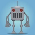Cartoon robot with red eyes Royalty Free Stock Photography