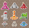 Cartoon robot stickers Stock Photography