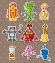 Cartoon robot stickers Royalty Free Stock Image