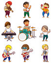 Cartoon rock band icon Stock Image