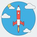 Cartoon rocket launch flat vector illustration the Stock Photo