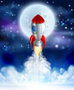 Cartoon rocket launch an illustration of a lifting off or launching in front of a full moon Royalty Free Stock Photos