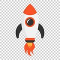 Cartoon rocket space ship icon in flat style. Spaceship vector i Royalty Free Stock Photo
