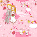 Cartoon romantic seamless pattern . Stock Photos