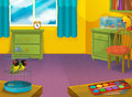 Cartoon room with animals illustration for the children beautiful and colorful of a full of Stock Photos