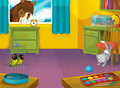Cartoon room with animals illustration for the children beautiful and colorful of a full of Stock Photography