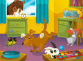 Cartoon room with animals illustration for the children beautiful and colorful of a full of Royalty Free Stock Image