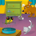 Cartoon room with animals illustration for the children beautiful and colorful of a full of Stock Image