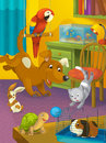 Cartoon room with animals illustration for the children happy and colorful Royalty Free Stock Photos