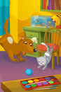 Cartoon room with animals illustration for the children happy and colorful Royalty Free Stock Photo
