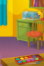 Cartoon room with animals illustration for the children happy and colorful Royalty Free Stock Photography