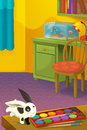Cartoon room with animals illustration for the children happy and colorful Stock Image