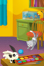 Cartoon room with animals illustration for the children happy and colorful Royalty Free Stock Images