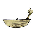 Cartoon rowing boat hand drawn illustration in retro style vector available Stock Images
