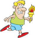 Cartoon running man with a torch illustration of holding Royalty Free Stock Images