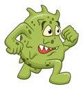 Cartoon running microbe Royalty Free Stock Photo