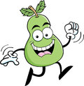 Cartoon running pear illustration of a Stock Photo