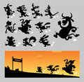 Cartoon running silhouettes animals with landscape color image use for logo symbol sticker poster or any design you want very easy Royalty Free Stock Images