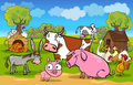 Cartoon rural scene with farm animals Stock Photos
