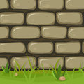 Cartoon rural stone wall illustration of a background with bricks of rock grass leaves and lawn Royalty Free Stock Photo
