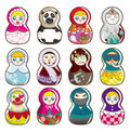Cartoon Russian dolls Royalty Free Stock Photos