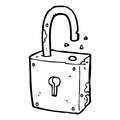 Cartoon rusty old padlock black and white line in retro style vector available Stock Photography