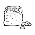Cartoon sack of potatoes black and white line in retro style vector available Royalty Free Stock Images