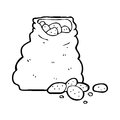 Cartoon sack of potatoes black and white line in retro style vector available Stock Photos