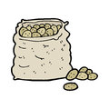 Cartoon sack of potatoes hand drawn illustration in retro style vector available Royalty Free Stock Photo