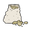 Cartoon sack of potatoes hand drawn illustration in retro style vector available Stock Photo