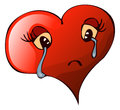 Cartoon Sad Crying Heart, Vector Illustration. Royalty Free Stock Photo