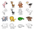 Cartoon safari animal illustrations a set of color and black an white outline versions Stock Images